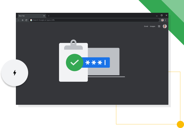 Chrome browser window in Dark mode, displaying Google productivity icon.